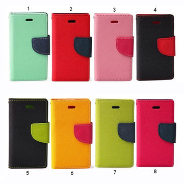 Fashion Slim Contrast Color PU Leather Stand Case For iPhone 4 4S