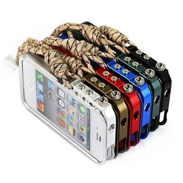 Arm Grain Pattern Aluminum Protective Case Cover For iPhone 4 4S