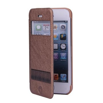 KLD PU Leather View Window Stnad Protector Case Cover For iPhone 5 5S