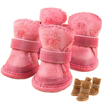 Winter Cat Dog Shoes Pet Dog Warm Suede Shoes Footwear Snow Boots