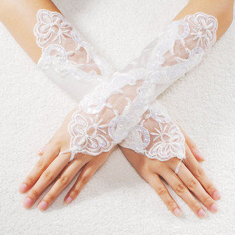 Sexy Bride Wedding Party Fingerless Pearl Lace Satin Bridal Gloves