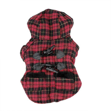 Pet Dog Puppy Red Plaid Toggle Fur Hoodie Coat Jacket