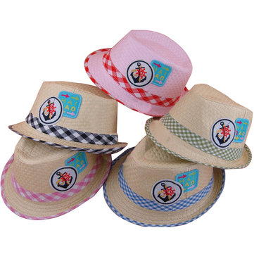 Fashion Baby Kids Sailors Sticker Grid Straw Braid Fedora Hat