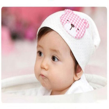Cute Plaid Bear Baby Cotton Hat Dot Infant Cap