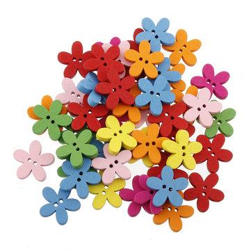 100adet Renkli Çiçek Sırtı Ahşap Düğmeler DIY Dikiş Elişi