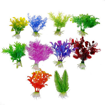 10 X Plastic Artificial Fish Tank Ornament Plant Aquarium Decoration