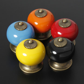 Ceramic Zinc Alloy Door Cabinet Knob 5 Colors