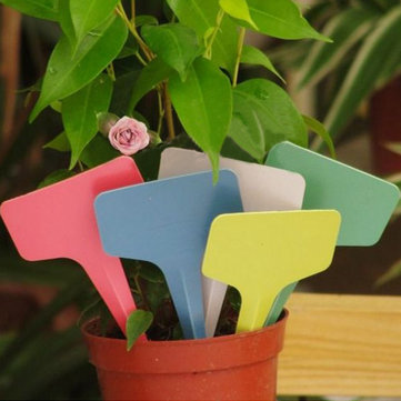 100pcs 6x3CM Gardening Plastic Plant Flower T-type Tags Marker Labels
