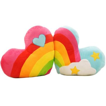 Rainbow Heart Clouds Couple Cushion