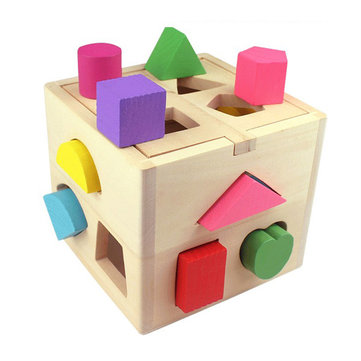 Child Baby 13 Holes Wooden Toys Shape Building Block Puzzle