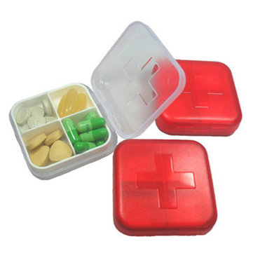 Red Cross Pill Case 4 Grid Medicine Storage Box