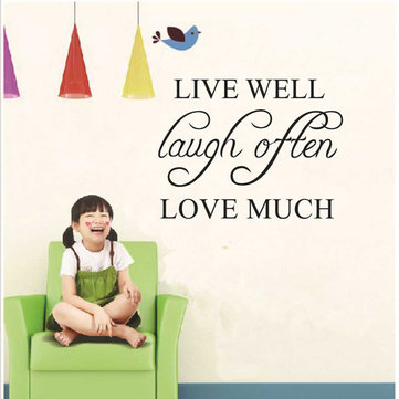 42x32cm Live Well Love Much PVC Wall Sticker Wallpaper ZY8122
