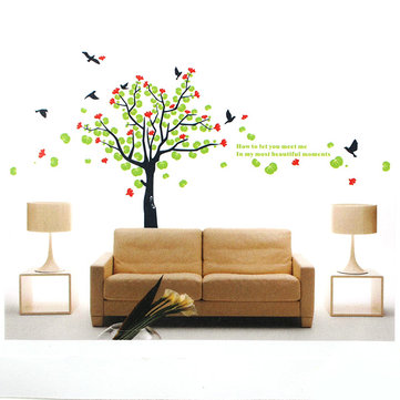 Spring Flowering Tree Birds PVC Wall Sticker Wallpaper 2180
