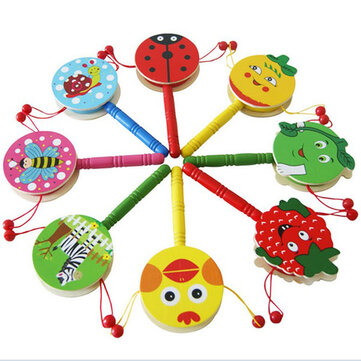 Baby Shaking Rattle Cartoon Wooden Hand Bell Drum Kids Baby Toy