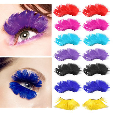 1 Pair Multicolor Fancy Party Long False Feather Eyelashes