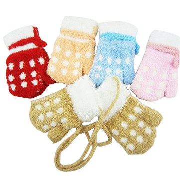 5 Colors Baby Coral Fleece Dot Warm Gloves Children Gloves