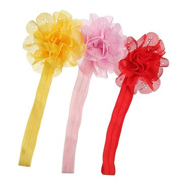 3 Colors Baby Girl Chiffon Flower Elastic Hair Band Headbrand Headdress