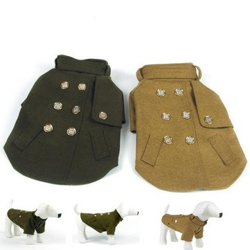 Fashionable Pet British Style Winter Warm High Collar Coat Pet Clothes