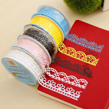 10pcs Decorative Lace Tape Hollowed Out Lace Adhesive Tape Stickers