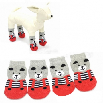 Cat Dog Socks Bear Pattern Red Grey Indoor Soft Cotton Anti-Slip Pet Socks