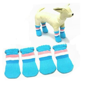 Cat Dog Socks Pet Rickrack Colorful Stripe Pattern Cotton Anti-slip Socks