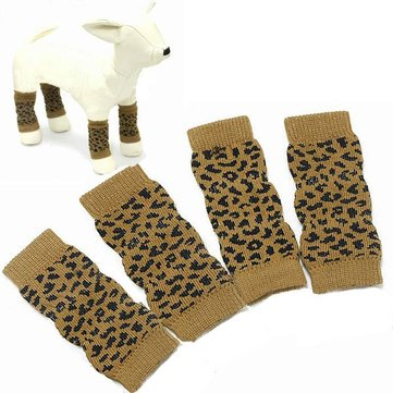 Pet Dog Leopard Pattern Cotton Knitted Warm Kneelet Ankle Socks