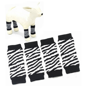Black And White Stripe Cotton Knitting Pet Ankle Sock Knee Pad