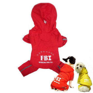 FBI Pattern Outdooors Waterproof Pet Hoodie Rain Coat