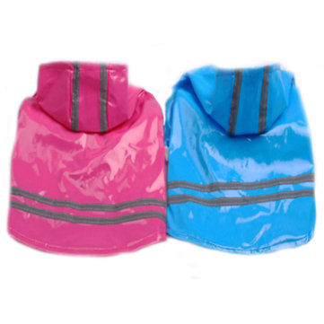 PU Leather Night Safe Reflective Effect Waterproof Pet Rain Coat
