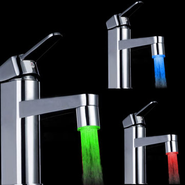3X 7 Color Changing LED Faucet Color Changing Water Tap Light Silver