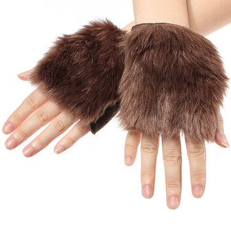 Winter Gloves Faux Fake Fur Mitten Palm Warmer
