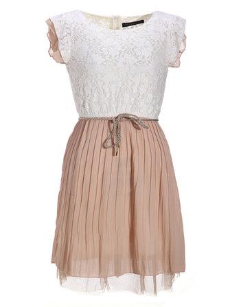 Women's Beige Lace Dress Sleeveless Pleated Vest Waist Mini Dress