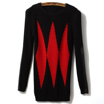 Spell Leather Sleeve Shoulder Diamond Recreational Sweater