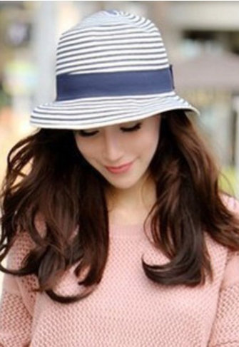 Female Summer Sun Shading Stripe Beach Straw Hat