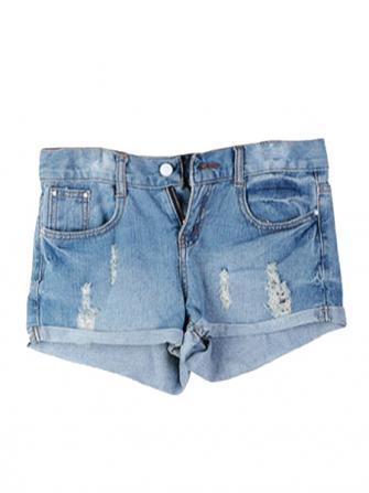 Hole Skull Classic Denim shorts Pants