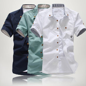 Men's Casual Solid Color Cotton Polyester Short-sleeved Shirts