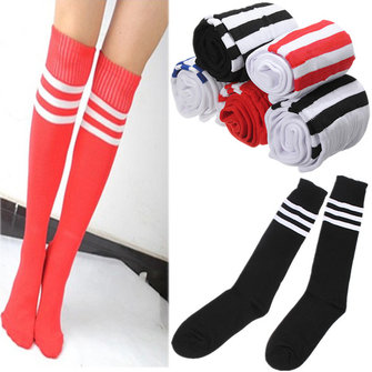 Football Soccer Hockey Rugby Sport Stripes Mens Women Knee High Socks