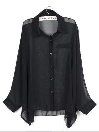 Casual Irregular Bat Sleeves Turn Down Collar Chiffon Blouse