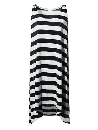 Sexy Striped Irregular Beach Long Cotton Vest Dress