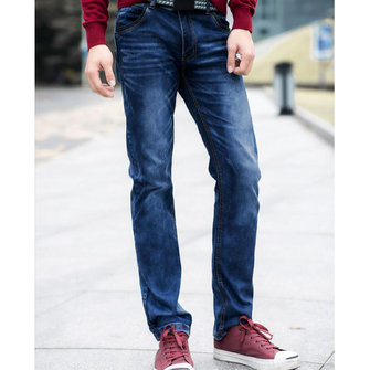 Men's Fashion Blue Classic Straight Cut Jeans Denim Pants