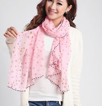 Solid Color Polka Dot Printed Lady Scarves Shawl Wraps