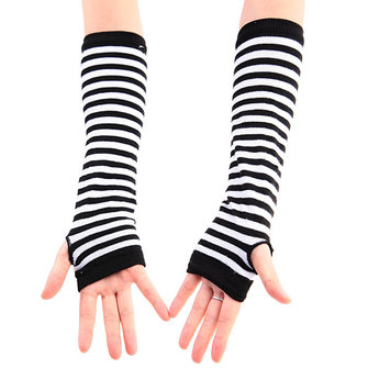 Stripe Fingerless Long Mitten Gloves Zebra Arm Sleeve