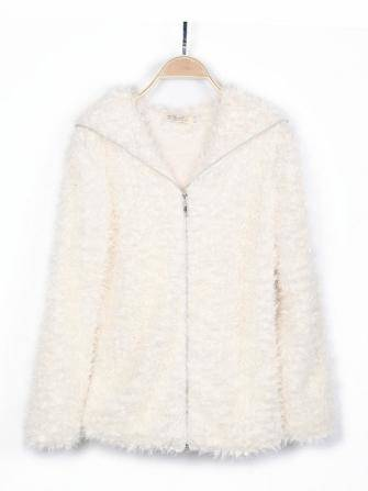 Furry Zipper Loosen Hooded Coat
