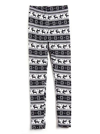 Snowflake Deer Soft Colorful Knitted Thicken Warm Leggings