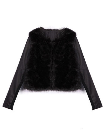 Imitation Fur PU Leather Splicing Puff Sleeve Slim Fit Coat