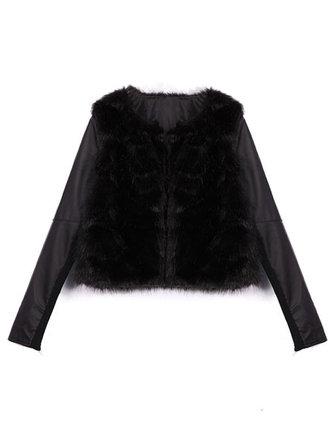 Imitation Fur PU Leather Splicing Puff Sleeve Slim Fit Coat