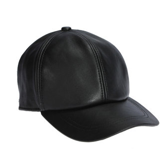 Men Genuine Leather Baseball Caps Casual Adjustable Black Warm Hats