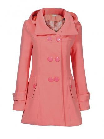 Elegant Autumn Winter Hooded Double Breasted Pocket Woolen Coat