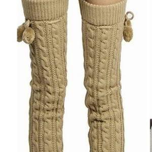 Women Warm Cashmere Knee High Knit Crochet Socks Boots Sets