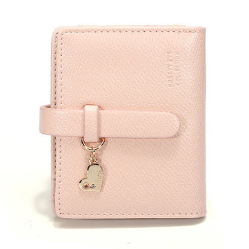 Korean Fashion Sweet Candy Color PU Purse Women Short Wallet Coins Bag